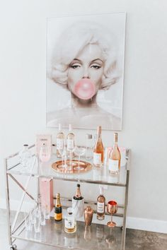 Chic Rosé Bart Cart Marilyn Monroe Bubble Gum Bar Cart Styling Cabana Service Home Decor Rosé & White Cart Cart Blondie in the City by Hayley Larue Home Bar Decor, Bar Cart Decor, Retro Home Decor, Cheap Home Decor, Ikea Bar Cart, 1950s Decor, White Home Decor, Diy Bar Cart, Sconces Living Room