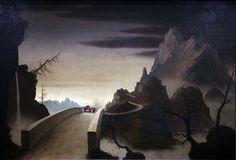 "Franz Sedlacek (Austrian, 1891–1945) | ""Die Paßstraße"" (Gebirgslandschaft mit Automobil) [""The Pass Road"" (Mountain Landscape with Automobile)], 1931| Oil on panel, 56.4 × 84 cm"
