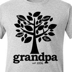 Chemise de grand-père - grand-père arbre généalogique établi que t-shirt personnalisé avec plusieurs noms de grandkid - cadeau fête des pères