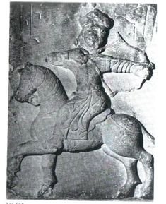 "A relief, now in Armenia, depicting a Seljuk mounted archer who is executing the ""Parthian shot"". Shooting backwards from on horseback was the zenith of the nomadic warrior's martial art."