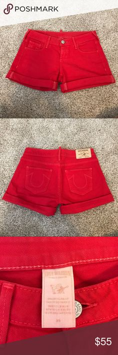 """True Religion Mid Rise Red Cassie Shorts These red hot Cassie shorts have a mid rise waist and a cuffed bottom.  The shorts have only been worn once so the color is extremely vibrant.  Rise 9"""" Inseam 6"""". True Religion Shorts Jean Shorts"""