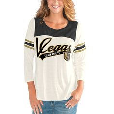G-III 4Her by Carl Banks Vegas Golden Knights Women s Cream Black Endzone  Long 5a8d1b18c