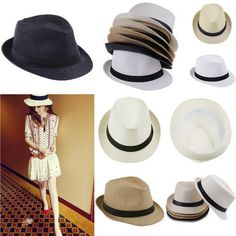 1x Men Women Lady Brim Bowler Sun Straw Monofilament Cone Summer Beach Hats  Cap  BowlerDerby c6ba861e51b1