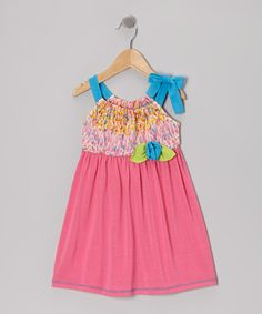 Fuchsia & Turquoise Tie Dress - Toddler & Girls | Daily deals for moms, babies and kids