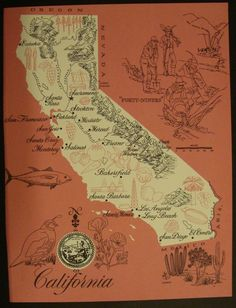 Vintage Map of California