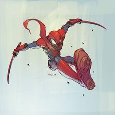 "Spiderman from tonight's ""twitch"" stream. 2 part video uploading on twitch. #spiderman #peterparker #robots #marvelcomics #heroes #hero #spider #wacom #cintiq27qhd #cintiq #goodnight #twitch #autodesksketchbook #photoshop #1dtran #samurai #cyborg #disney #twitch #stream"