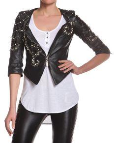U neck leather jacket, ¾ sleeves, crosswise zipper and matelassé pearl and bosses embroidery. http://shop.mangano.com/it/capispalla-donna-/16615-giubbino-della-nero.html #jacket #apparel #clothing #woman #black  #leather #mangano