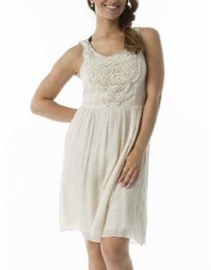 (CLICK IMAGE TWICE FOR DETAILS AND PRICING) Embroidered Racer Back Cocktail Dress Cream. Elegant party perfect embroidered dress, light in weight and beautiful to wear