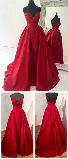 strapless long prom dress, 2017 red long prom dress, formal evening dress