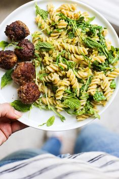 Lamb Meatballs with Mint and Pea Pesto Pasta – The Defined Dish