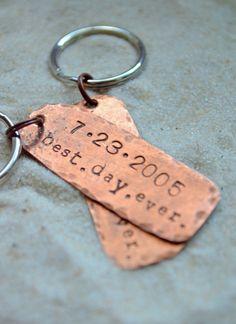 Anniversary Keychains  Husband gift husband and by SailorStudio, $35.00