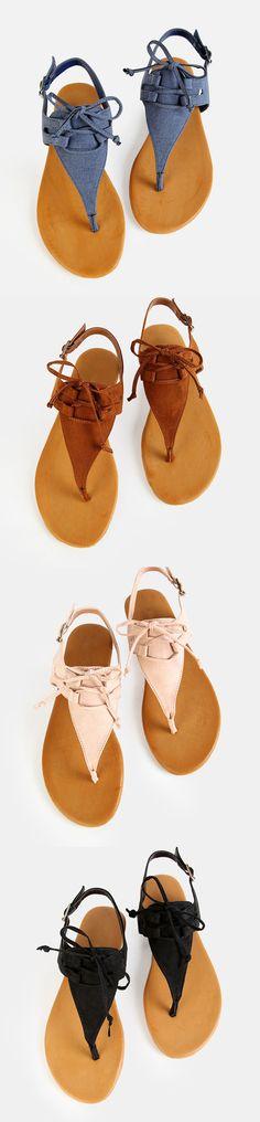 Denim Thong Tie Sandals DENIM