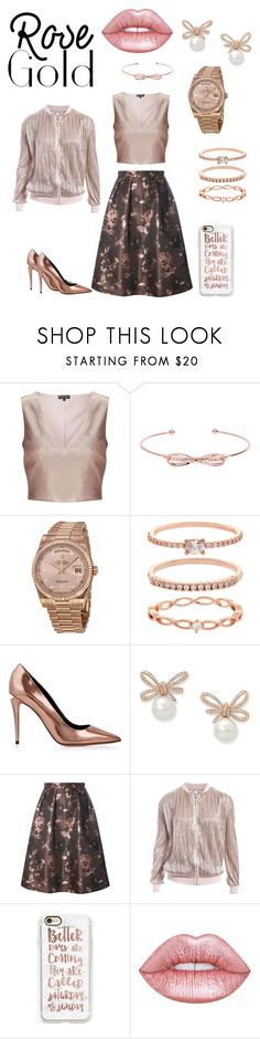 """Rose Gold in the City Parking Lot"" by beck-bows-and-ribbons ❤ liked on Polyvore featuring Miss Selfridge, Ted Baker, Rolex, Accessorize, Alexander Wang, Luxe, Sans Souci, Casetify and Lime Crime"