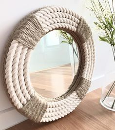 Round Mirror With Rope, Rope Mirror, Round Wall Mirror, Diy Mirror, Rope Frame, Mirror Crafts, Rope Decor, Home Decoracion, Rope Crafts