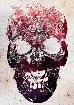 Floral Skull Print @Erin Draper This reminds me of that dude's art you guys love! Different, but badass!