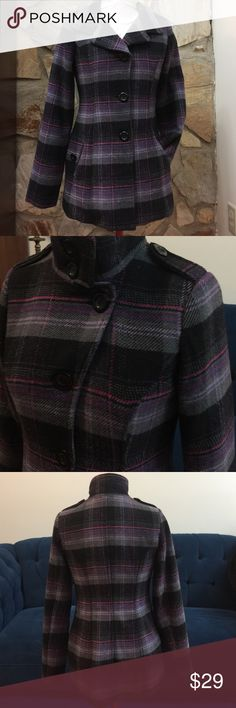 """Plaid pea coat black gray purple pink M Beautiful plaid pea coat as shown has 2 front pockets buttons down and has decorative buttons. It's a medium BUT the bust is too smug for me (34C) hence, I must sell. 😐 it's fully lined and warm for fall and winter. Length 28"""".  Sleeve 25"""".       Around bust on mannequin is 36.   Waist 31"""".  I believe medium is correct sizing except for the bust area. Some smalls could easily wear this, or mediums with 34B or less should be able to wear it🙂 Say What?…"""