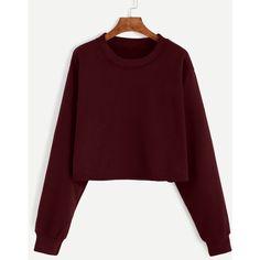 Burgundy Drop Shoulder Crop Sweatshirt (16 CAD) ❤ liked on Polyvore featuring tops, hoodies, sweatshirts, sweaters, shirts, burgundy, crop tops, long-sleeve crop tops, burgundy long sleeve shirt and sports shirts