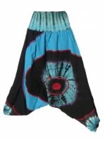 Sarouel turquoise bleu nuit et tïdïe coton népalais