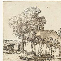 Cottage with White Paling among Trees, Rembrandt van Rijn, c. Landscape Drawings, Landscape Art, Landscapes, Rembrandt Drawings, Plant Drawing, Old Master, Sketchbooks, Sketching, Notebooks
