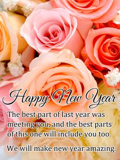 rose new year wishes card celebrate last year and look ahead to the future with this floral new year card its those who are closest to us that make a