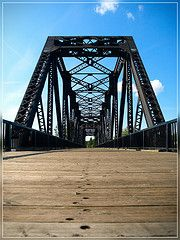 railroad bridge turned pedestrian bridge in Red Deer, Alberta