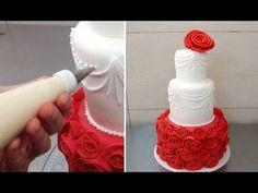Rose Red Cake Fondant Decorating - How To by CakesStepbyStep