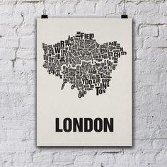 Siebdruck - London Siebdruck Poster Typografie von buchstabenorte via DaWanda.com