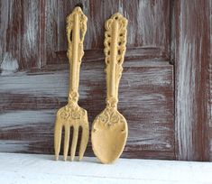 Spoon Wall Decor vintage large metal spoon and fork wall decor | wall decor, metals