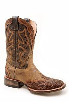 Mens Orange Tone Brown Hand Tool Wingtip With Crown Men S Stet - Cowboy Boots