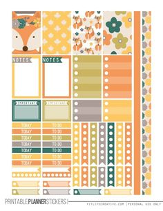 Get your planner ready for Fall with the FREE Fall Fox printable planner stickers for the Happy Planner.