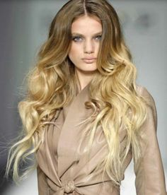 trendfrisuren langes haar ombre blond