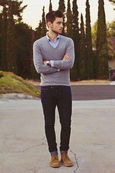 men's fashion, oxford shirt, grey v-neck sweater, dark denim. Love this casual comfy look