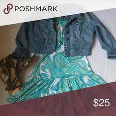 Women's size small strapless dress Blue/green/white printed design strapless dress. Ocean Drive Dresses Strapless