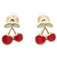 Accessorize Cherry Stud Earrings ($3) ❤ liked on Polyvore featuring jewelry, earrings, accessorize earrings, cherry jewelry, cherry earrings, accessorize jewelry and stud earrings