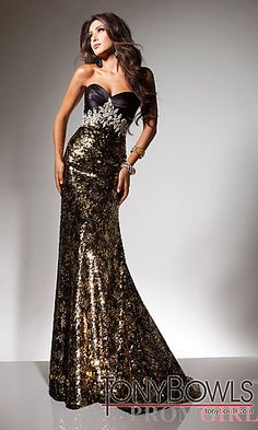 Metallic Strapless Sequin Formal Gown at PromGirl.com