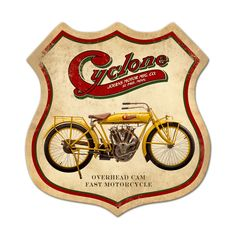 From the Classic Motorcycle licensed collection, this Cyclone shield metal sign measures 15 inches by 15 inches and weighs in at 2 lb(s). We hand make all of our shield metal signs in the USA using heavy gauge american steel and a process known as sublimation, where the image is baked into a powd...