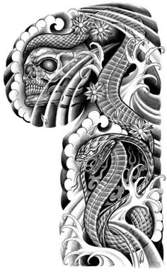 flip snake and skull Sketch Tattoo Design, Skull Tattoo Design, Skull Tattoos, Tattoo Designs, Tatoos, Japanese Snake Tattoo, Japanese Tattoos, Chest And Back Tattoo, African Tribal Tattoos