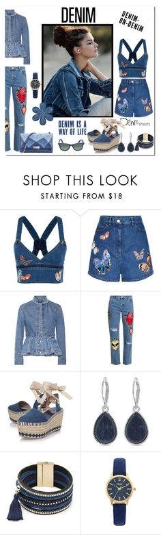 """""""Denim Is A Way Of Life"""" by victorianheaven ❤ liked on Polyvore featuring Valentino, Alexander McQueen, House of Holland, Tory Burch, Nine West, Design Lab, Vivani, Ray-Ban and alldenim"""