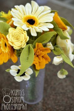 Mustard Yellow Felt Flower Bridal Bouquet by TheFeltFlorist