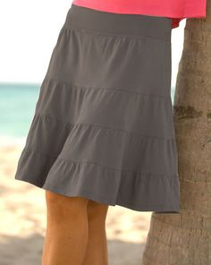 Destined to become your everyday go-to piece, the flirty Jersey Tiered Skirt is a simple and easy to wear skirt. 100% cotton,3 tiers and flounce hem, flat rib cotton waistband, above the knee length, made in USA