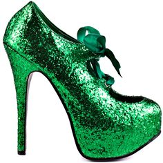 Give your look some serious glam in this alluring Bordello pump.  Sin City brings you a bright and flashy green glitter upper accompanied by a girly ribbon bow at the vamp.  Be a show off in the 6 inch heel and 2 inch platform.