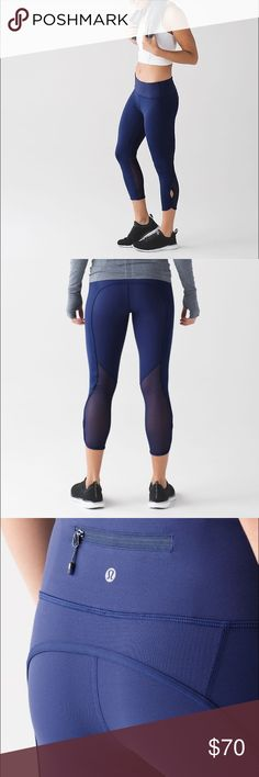 Lululemon BEAT THE HEAT CROP, HERO BLUE SIZE 8 Lululemon Beat The Heat Crop Hero Blue Release Date: 7/2016 Material: Full-On Luxtreme, Luxtreme This crop has Mesh fabric ventilation to help you beat the heat and our signature three-pocket waistband to keep you organized on the run. Luxtreme® Cool-to-the-touch Luxtreme® fabric is four-way stretch and sweat-wicking—we added LYCRA® fibre for stretch lululemon athletica Pants Leggings