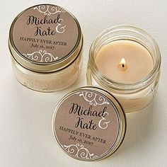 Create lasting Wedding memories with the Rustic Chic Wedding Personalized Mason Jar Candle Favors. Find the best personalized wedding gifts at PersonalizationMall.com