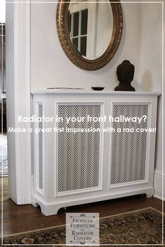 That radiator in your front hallway is the first thing you see in your home! Adding a custom wooden radiator cover can really help make that first impression count, and set the tone for the rest of your older home! Radiator Shelf, Radiator Ideas, Wall Heater Cover, Interior Design Living Room, Living Room Designs, Custom Radiator Covers, Vinyl Panels, Front Hallway, Home Ceiling