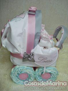 CosasdeMarina   Regalos con pañales, detalles para bebes: cochecito de pañales