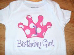 Boutique First Birthday Princess Applique Shirt Personalized. $22.00, via Etsy.