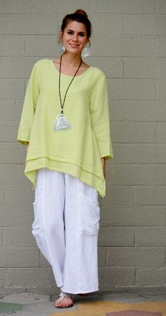 Et'Lois USA Linen Olivia Tunic Long A Line 2 Layer Hemline s M L XL Pebble | eBay