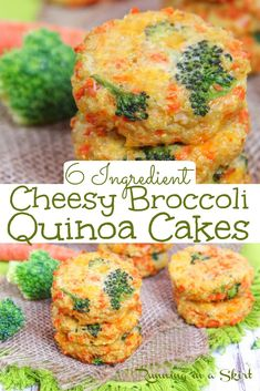 Cheesy Broccoli Quinoa Cakes recipe - only 6 Ingredients! This the best veggie quinoa patties or quinoa cakes recipe. Easy, healthy and delicious. Simple vegetarian main course recipes. / Running in a Skirt #quinoa #cheese #broccoli #healthy #vegetarian Quinoa Cake, Salmon Burgers, Broccoli, Meat, Chicken, Ethnic Recipes, Food, Salmon Patties, Meals