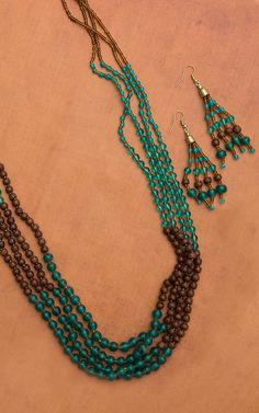 Turquoise and Brown Beaded Necklace and Earring Set
