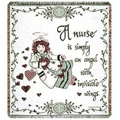 A Nurse Is Simply An Angel With Wings Throw Afghan